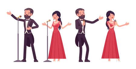 Musician, elegant man and woman singing, professional concert performer