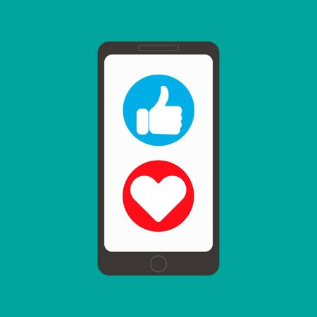 Vector illustration of mobile phone with thumbs up and heart. Icon set. Standard-Bild - 139848137