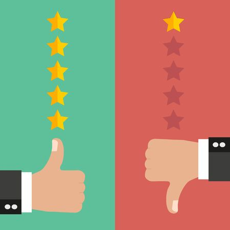 Vector illustration of positive and negative feedback concept with star rate in flat style