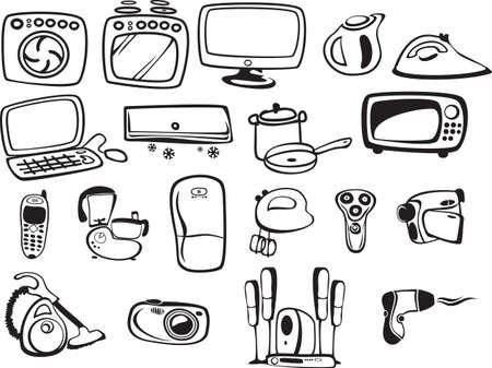 symboles des appareils ménagers et de l'électronique