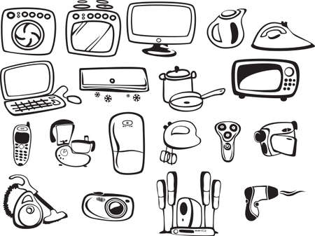combines: symbols of household appliances and electronics