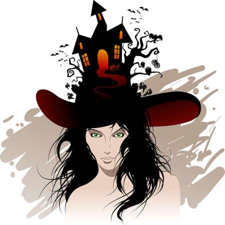 dark hair: halloweens beautiful witch Illustration