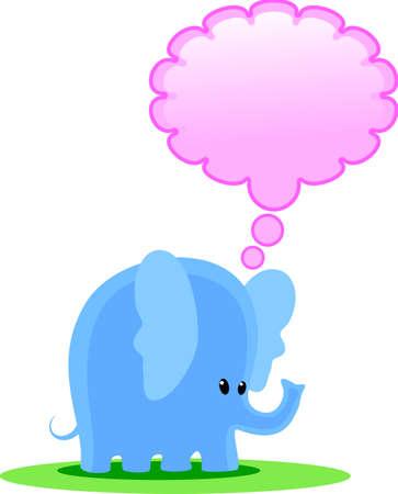 rt: blue elephant thinks Illustration