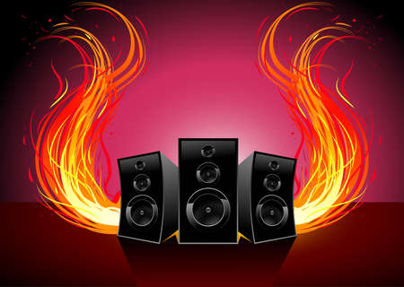 music and fire wave Vector