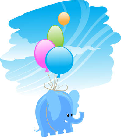 cartoon wind: flying elephant