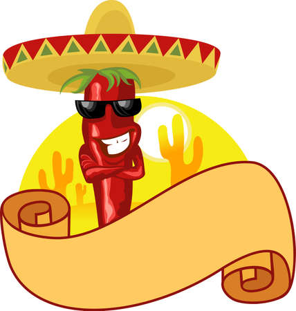 mexican hot chili and banner Stock Vector - 3679766