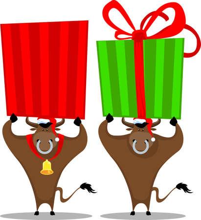 cartoon bull and gift box Vector