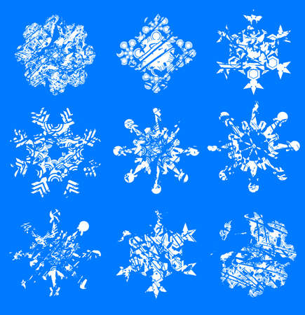 thawing: grunge snowflakes Illustration
