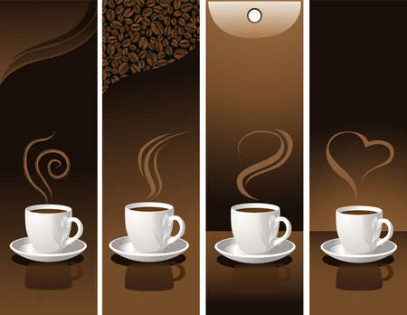 banner with coffee cups Illustration