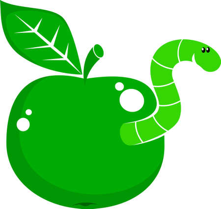 apple worm: symbol apple with worm