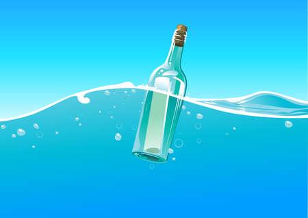 message vector: botella de agua y las olas Vectores