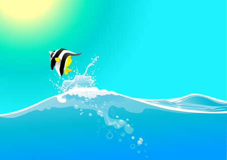 water wave and jumping fish Vector
