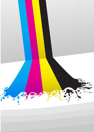 printing out: lines of CMYK paint Illustration