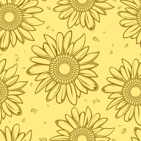 sunflower seamless background Vector