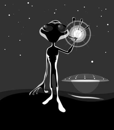 alien in night Vector