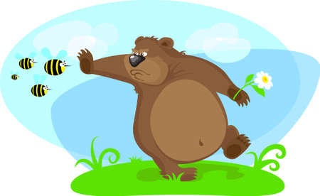 angry sky: the bear stoped bees Illustration