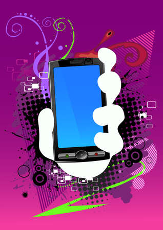 abstract background and cell phone Vector