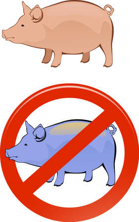 healthy and sick pig Vector