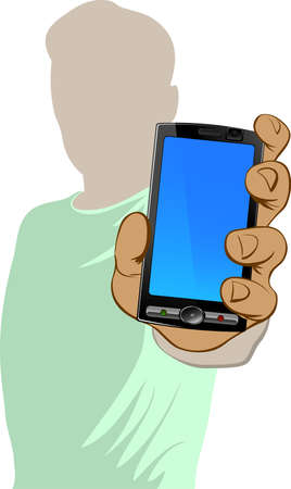 vector button: Person holds cell phone