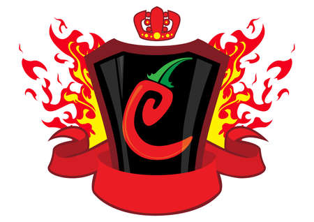 hottest: chili emblem with banner