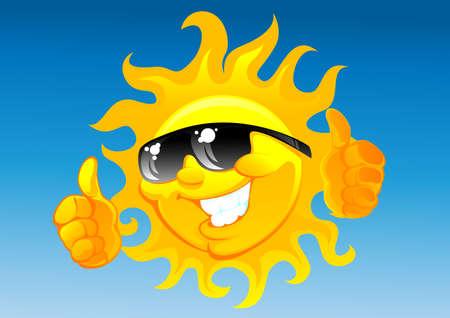 "słońce: SÅ'oÅ""ce komiksowÄ… w okulary sÅ'oneczne  Ilustracja"