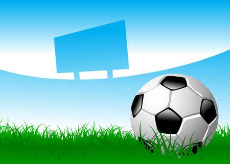 scorebord: voetbal bal op grasveld Stock Illustratie