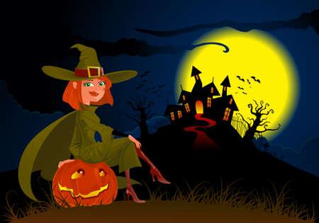 halloweens witch and pumpkin
