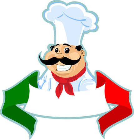 cocinero italiano: cocinero chef italiano etiqueta