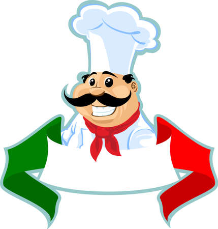 cook cartoon: italian chef cook label