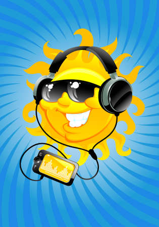 ヘッドフォンで太陽を漫画  イラスト・ベクター素材