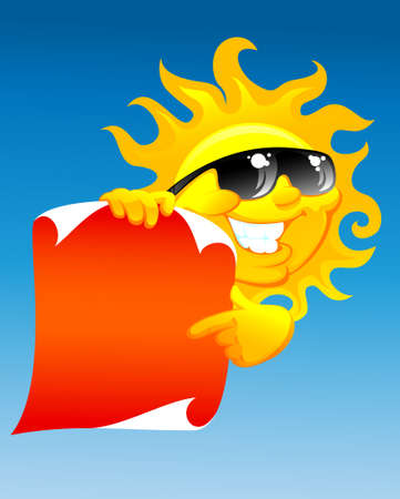 smiling sun:  illustration of the cartoon sun with red scroll Illustration