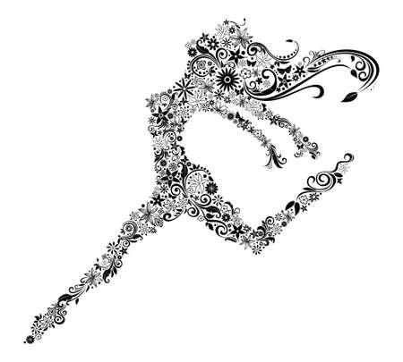 Illustration de la femme en saut. Conception de la fleur. Thème été ou au printemps.