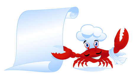 paper hats: cute cartoon crab-cook with menu scroll