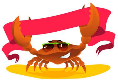 green crab: cartoon cute crab holds ribbon Illustration