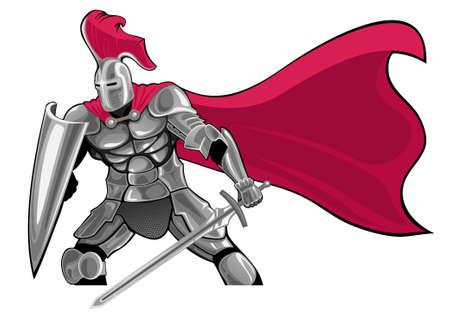 gepantserde ridder met een zwaard en schild