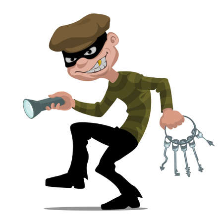 burglars: cartoon thief with flashlight and skeleton keys Illustration