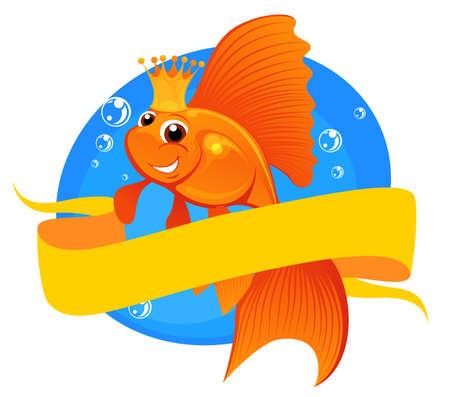 illustration magic goldfish with banner