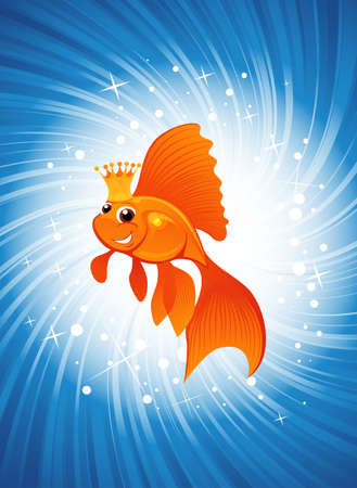 magic goldfish on shining blue background Vector