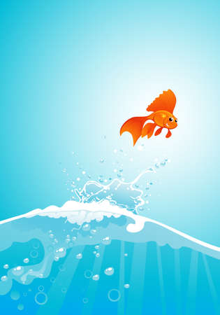 goldfish jump: beauty goldfish jump out of water Illustration