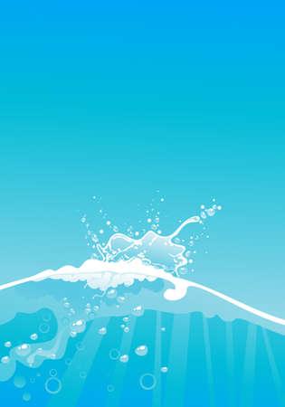 splash in clear blue water Vector