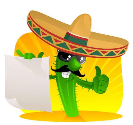 mexican sombrero: Cactus in sombrero mostra un pergamene  Vettoriali