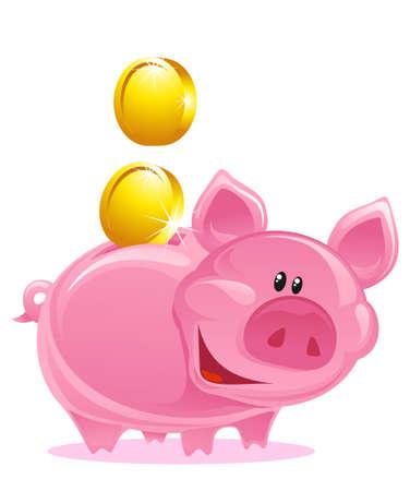 Cute Piggy Bank mit Gold Coins  Vektorgrafik