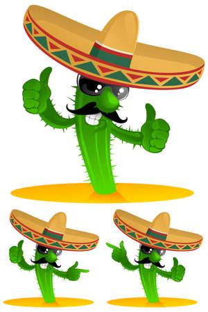 three mexican cactus Illustration