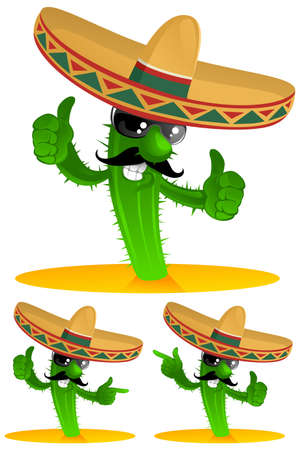 mexican cartoon: three mexican cactus Illustration