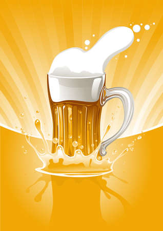 full mug fresh beer on gold background Vector