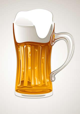 fresh gold beer in glass mug