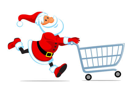 red retail: cute cartoon santa run with empty cart