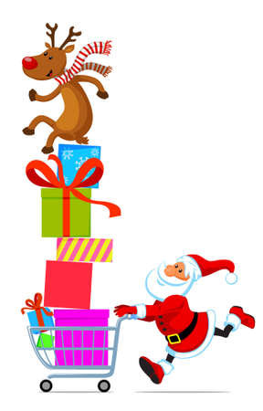 Santa Claus running with shopping cart full of gifts Vector