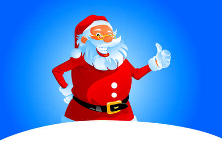 Happy Santa Claus show to us thumb up, illustration can be scale to any size Vector