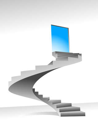 Stairs to up for bright shining door,  illustration can be scale to any size Stock Vector - 8036459